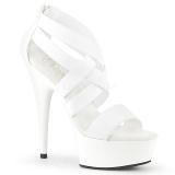 Blanco banda elástica 15 cm DELIGHT-669 calzado pleaser con tacón de mujer