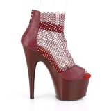 Borgona 18 cm ADORE-765RM brillo zapatos tacones altos con plataforma