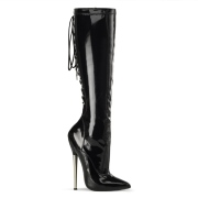 Botas hasta la rodilla con cordones charol 16 cm puntiagudas botas de tacón de aguja metalico