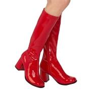 Botas rojas charol tacón ancho 7,5 cm - años 70 hippie disco gogo - botas debajo de la rodilla