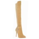 Brown Suede 13 cm AMUSE-2018 Overknee Boots Flat Heels