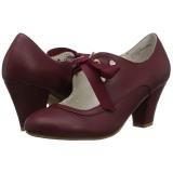 Burdeos 6,5 cm WIGGLE-32 Pinup zapatos de salón tacón ancho