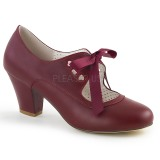Burdeos 6,5 cm WIGGLE-32 retro vintage zapatos de salón maryjane tacón ancho
