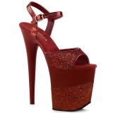 Burdeos Brillo 20 cm Pleaser FLAMINGO-809-2G Tacones Altos Plataforma