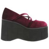 Burdeos Terciopelo 11,5 cm KERA-10 zapatos lolita plataforma