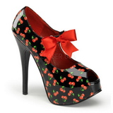 Cerezos Negro 14,5 cm Burlesque TEEZE-25-3 Zapatos de tacón altos mujer