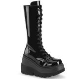 Charol 11,5 cm SHAKER-72 góticos botas de cordones mujer plataforma negro