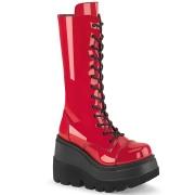 Charol 11,5 cm SHAKER-72 góticos botas de cordones mujer plataforma rojo