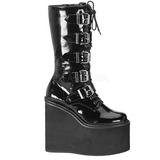 Charol 14 cm SWING-220 plataforma botas de mujer con hebillas