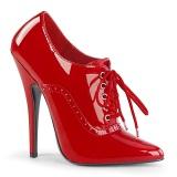 Charol 15 cm DOMINA-460 zapatos de salón oxford con cordones rojo