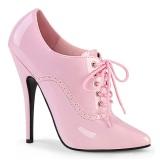 Charol 15 cm DOMINA-460 zapatos de salón oxford con cordones rosa