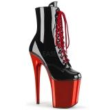Charol 20 cm FLAMINGO-1020 botines altos mujer plataforma cromo rojo