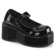 Charol 8,5 cm DEMONIA DOLLIE-01 zapatos de salón mary jane negros