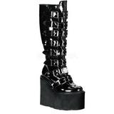 Charol 9 cm SWING-815 plataforma botas de mujer con hebillas