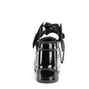 Charol Negros 15 cm Demonia WAVE-20 lolita zapatos sandalias con cuña alta plataforma
