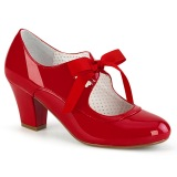 Charol Rojo 6,5 cm WIGGLE-32 retro vintage zapatos de salón maryjane tacón ancho