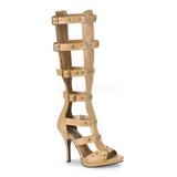 Crema 11,5 cm GLADIATOR-208 gladiador sandalias hasta la rodilla con hebillas