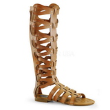 Crema ATHENA-200 gladiador sandalias hasta la rodilla con hebillas