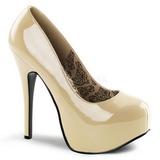 Crema Charol 14,5 cm Burlesque BORDELLO TEEZE-06 Plataforma Zapatos de Salón