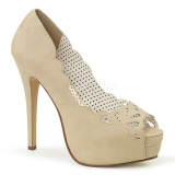 Crema Polipiel 13,5 cm BELLA-30 zapatos de salón punta abierta