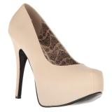 Crema Polipiel 14,5 cm Burlesque TEEZE-06W zapatos de salón pies anchos hombre