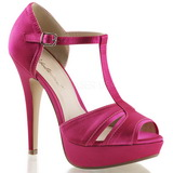 Fuchsia Satin 13 cm LOLITA-20 High Heeled Evening Sandals
