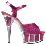 Fucsia Brillo 15 cm DELIGHT-609-5G Tacones Altos Plataforma