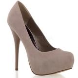 Gamuza Beige 13,5 cm GORGEOUS-20 Plataforma Zapatos de Salón
