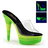 Green 15 cm DELIGHT-601UVS neon platform mules womens
