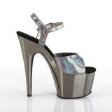 Gris 18 cm ADORE-709HGCH Holograma plataforma sandalias de tacón alto