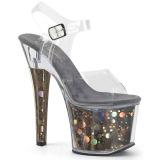 Gris 18 cm RADIANT-708BHG Holograma plataforma sandalias de tacón alto
