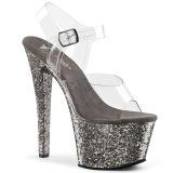 Gris 18 cm SKY-308LG brillo plataforma sandalias de tacón alto