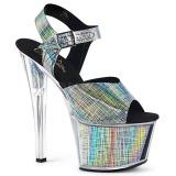 Gris 18 cm SKY-308N-CRHM Holograma plataforma sandalias de tacón alto