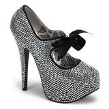 Gris Piedras Strass 14,5 cm Burlesque TEEZE-04R Plataforma Zapato Salón