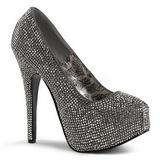 Gris Piedras Strass 14,5 cm Burlesque TEEZE-06R Plataforma Zapato Salón