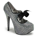 Gris Piedras Strass 14,5 cm TEEZE-04R Plataforma Zapato Salón