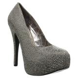 Gris Strass 14,5 cm Burlesque TEEZE-06RW zapatos de salón pies anchos hombre