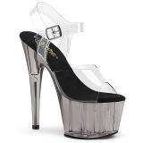 Gris transparente 18 cm ADORE-708T Zapatos de striptease