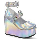 Holograma 12,5 cm POISON-99-2 zapatos de salón con cuña plataforma