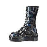 Holograma 5 cm EMILY-330 plataforma botas de mujer con hebillas