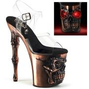 LED Plataforma cráneo 20 cm Zapatos de tacón altos transparentes - brass