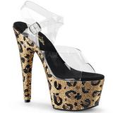 Leopardo 18 cm BEJEWELED-708LP Zapatos tacon altos mujer Piedras Brillantes