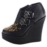 Leopardo Polipiel CREEPER-306 zapatos de cuñas creepers mujer