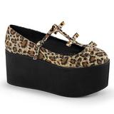 Leopardo lona 8 cm CLICK-08 zapatos goticos calzados suela gruesa