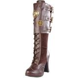 Marron 10 cm CRYPTO-302 plataforma botas de mujer con hebillas