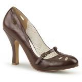 Marron 10 cm SMITTEN-20 Pinup zapatos de salón tacón bajo