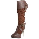 Marron 11,5 cm CARRIBEAN-216 plataforma botas de mujer con hebillas