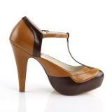Marron 11,5 cm retro vintage BETTIE-29 Pinup zapatos de salón con plataforma escondida