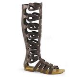Marron ATHENA-200 gladiador sandalias hasta la rodilla con hebillas