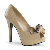 Marron Charol 13,5 cm LOLITA-10 Plataforma Zapatos de Salón